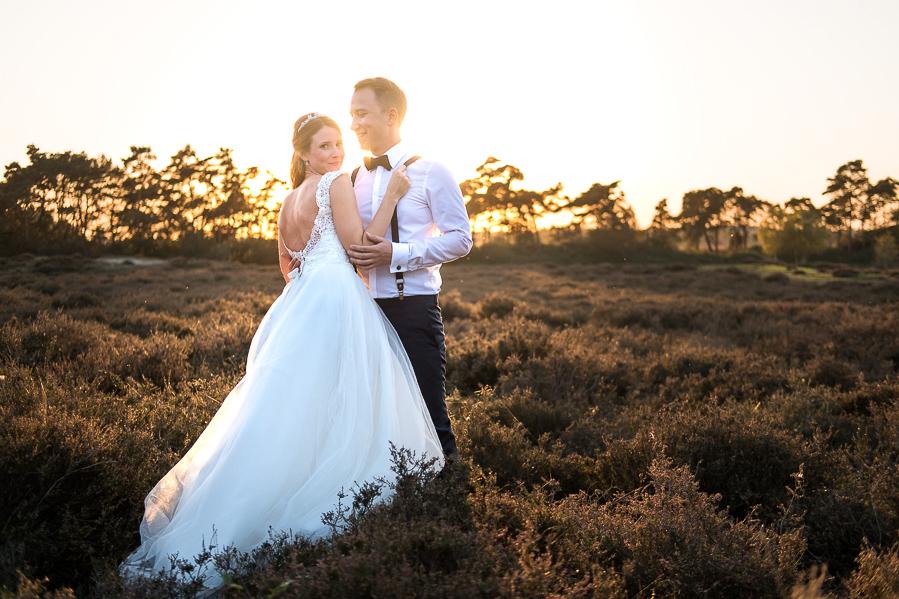 Hochzeitsshooting bei Sonnenuntergang in der Heide Lingen Emsland